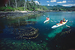 Haida Gwaii, sea kayakers, Queen Charlotte Islands, South Moresby Island, British Columbia, Canada, Tofino Expeditions guides in open water, released,.