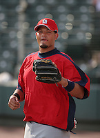Yadier Molina of the St. Louis Cardinals vs. the Atlanta Braves March 16th, 2007 at Champion Stadium in Orlando, FL during Spring Training action.  Photo By Mike Janes/Four Seam Images