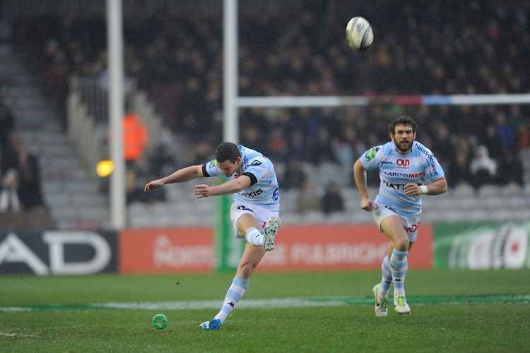 Jonny Sexton of Racing Metro 92 takes a penalty kick during the Heineken Cup match between Harlequins and Racing Metro 92 at the Twickenham Stoop on Sunday 15th December 2013 (Photo by Rob Munro)