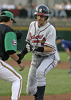 July 17, 2004:  Jason Tyner of the Richmond Braves, Triple-A International League affiliate of the Atlanta Braves, during a game at Frontier Field in Rochester, NY.  Photo by:  Mike Janes/Four Seam Images