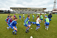 players of Gent  pictured during the warming up of a female soccer game between Eendracht Aalst and AA Gent Ladies on the 10 th matchday of the 2020 - 2021 season of Belgian Scooore Womens Super League , Saturday 19 th of December 2020  in Aalst , Belgium . PHOTO SPORTPIX.BE | SPP | DIRK VUYLSTEKE