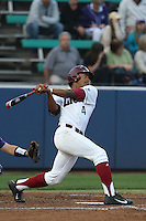 Billy Wilson (4) of the Loyola Marymount Lions bats during a game against the TCU Horned Frogs at Page Stadium on March 16, 2015 in Los Angeles, California. TCU defeated Loyola, 6-2. (Larry Goren/Four Seam Images)