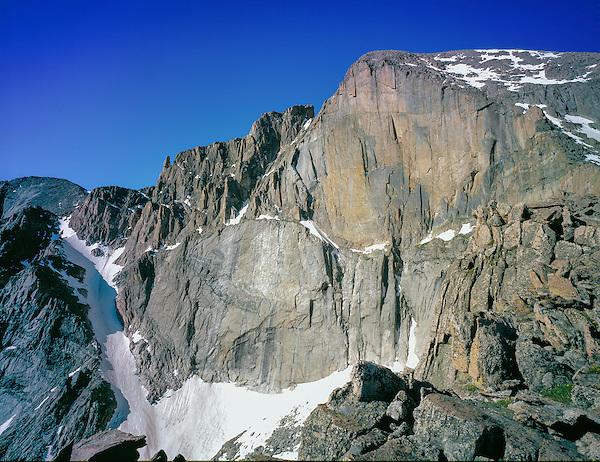 "The ""Diamond"" rock face on Longs Peak, Rocky Mountain National Park, Colorado."
