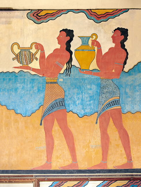 """The Minoan  """"Procession  Fresco' reconstructed at Knossos  archaeological site, Crete"""