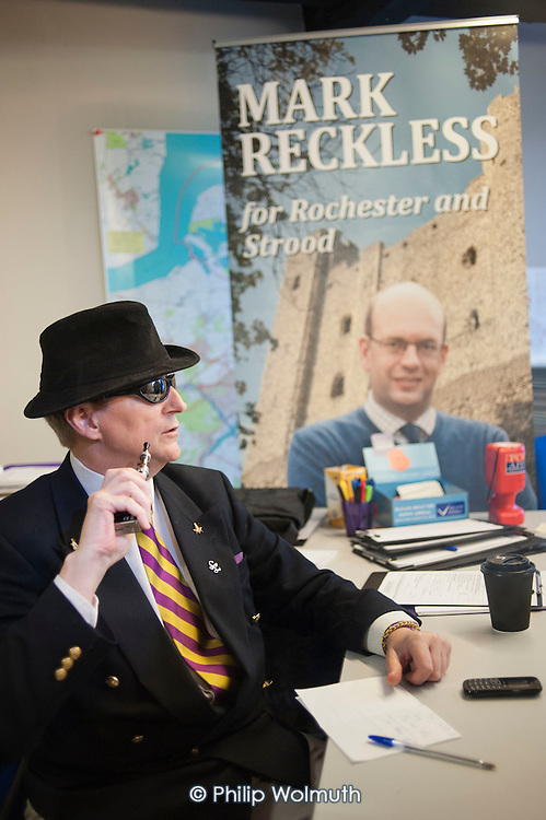 Inside the Rochester UKIP HQ.  UKIP leader Nigel Farage and ex-Tory MP Mark Reckless,the UKIP candidate, canvas in Rochester before the Rocester and Strood by-election.