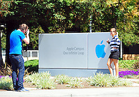 Sept. 6, 2011 - Cupertino, California - U.S. - People take pictures at the Apple Inc. world headquarters Monday September 5, 2011. Apple is one of the worlds most valuable companies by market capitalization and recently eclipsed Exxon Mobile with a Market worth of about $349.32 billion. Iconic CEO Steve Jobs resigned on August 24, 2011, and the Board named Tim Cook, previously Apple's Chief Operating Officer, as the company's new CEO. (Credit Image: Alan Greth/ZUMAPress.com).