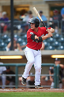 Billings Mustangs James Free (63) at bat during a Pioneer League game against the Grand Junction Rockies at Dehler Park on August 14, 2019 in Billings, Montana. Grand Junction defeated Billings 8-5. (Zachary Lucy/Four Seam Images)