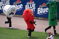 Buffalo Bisons race with blue cheese, hot wing and celery during a game against the Louisville Bats on June 23, 2016 at Coca-Cola Field in Buffalo, New York.  Buffalo defeated Louisville 9-6.  (Mike Janes/Four Seam Images)