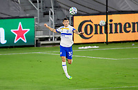 LOS ANGELES, CA - SEPTEMBER 02: Paul Marie #33 of the San Jose Earthquakes moves to the ball during a game between San Jose Earthquakes and Los Angeles FC at Banc of California stadium on September 02, 2020 in Los Angeles, California.