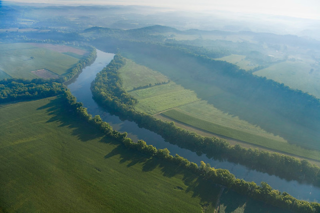 French Broad River and farmland
