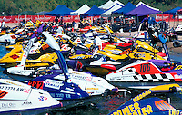 Cluster of jet skis at the World Final Jet Ski Championship. Lake Havasu City, Arizona.