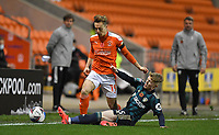 Blackpool's Dan Kemp battles with Leeds United's Liam McCarron<br /> <br /> Photographer Dave Howarth/CameraSport<br /> <br /> EFL Trophy - Northern Section - Group G - Blackpool v Leeds United U21 - Wednesday 11th November 2020 - Bloomfield Road - Blackpool<br />  <br /> World Copyright © 2020 CameraSport. All rights reserved. 43 Linden Ave. Countesthorpe. Leicester. England. LE8 5PG - Tel: +44 (0) 116 277 4147 - admin@camerasport.com - www.camerasport.com