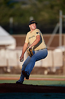 Sam Bello during the WWBA World Championship at the Roger Dean Complex on October 19, 2018 in Jupiter, Florida.  Sam Bello is a right handed pitcher from West Nyack, New York who attends Iona Preparatory and is committed to Maryland.  (Mike Janes/Four Seam Images)