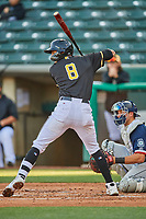 Jake Gatewood (8) of the Salt Lake Bees at bat against the Tacoma Rainiers at Smith's Ballpark on May 13, 2021 in Salt Lake City, Utah. The Rainiers defeated the Bees 15-5. (Stephen Smith/Four Seam Images)