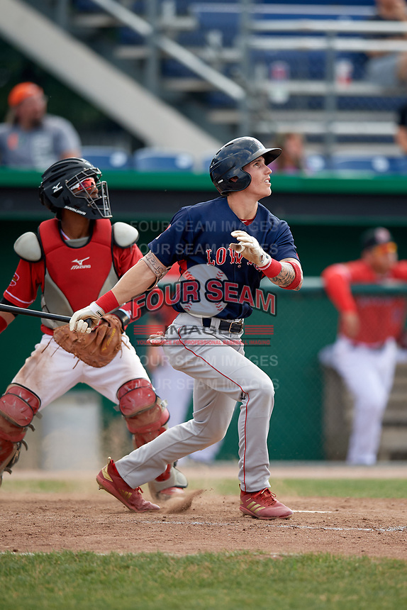 Lowell Spinners second baseman Jarren Duran (44) at bat in front of catcher Pablo Garcia (4) during a game against the Batavia Muckdogs on July 15, 2018 at Dwyer Stadium in Batavia, New York.  Lowell defeated Batavia 6-2.  (Mike Janes/Four Seam Images)