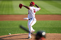 Harrisburg Senators pitcher Joan Adon (26) during a game against the Bowie Baysox on September 8, 2021 at FNB Field in Harrisburg, Pennsylvania.  (Mike Janes/Four Seam Images)