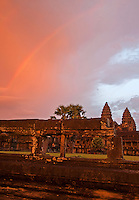 Spectacular Sunset and Rainbow over Angkor Wat, Siem Reap, Cambodia