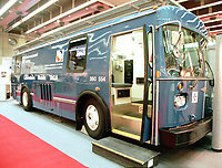 File photo.Montreal.  <br /> Exterior view of the TAGA mobile laboratory used by the Environmental Analysis Center of Quebec (a department of the Ministry of Environment of Quebec) to conduct on site analysis in case of chemical / toxic spills or contaminations.  Photo was taken at the Americana trade show on environment in Montreal, Canada<br /> <br /> Photo : (c) Pierre Roussel, 1999 / AQP