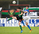 Glentoran v St Johnstone…. 09.07.16  The Oval, Belfast  Pre-Season Friendly<br />Joe Shaughnessy gets above a Glentoran trialist<br />Picture by Graeme Hart.<br />Copyright Perthshire Picture Agency<br />Tel: 01738 623350  Mobile: 07990 594431