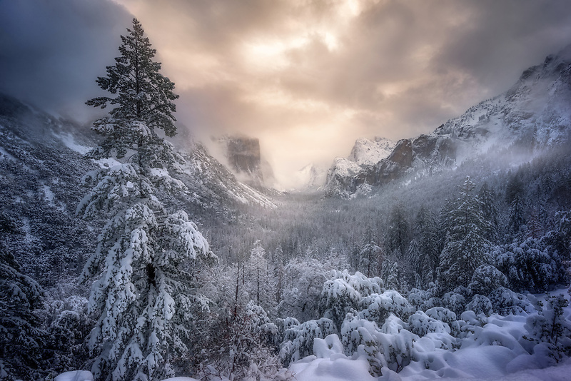 First snow at Tunnel View. Yosemite National Park, CA