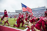 Florida State players kneel in the end zone before an NCAA college football game against Alabama State in Tallahassee, Fla., Saturday, Nov. 16, 2019. Florida State defeated Alabama State 49-12.  (AP Photo/Mark Wallheiser)