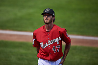 Billings Mustangs relief pitcher Alec Byrd (47) walks off the field between innings of a Pioneer League game against the Grand Junction Rockies at Dehler Park on August 14, 2019 in Billings, Montana. Grand Junction defeated Billings 8-5. (Zachary Lucy/Four Seam Images)