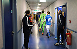 Livingston v St Johnstone …28.02.21   Hampden   BetFred Cup Final<br /> The players make their way out of the dressing room for kick off<br /> Picture by Graeme Hart.<br /> Copyright Perthshire Picture Agency<br /> Tel: 01738 623350  Mobile: 07990 594431