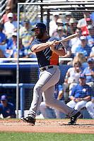 Houston Astros catcher Evan Gattis (11) during a Spring Training game against the Toronto Blue Jays on March 9, 2015 at Florida Auto Exchange Stadium in Dunedin, Florida.  Houston defeated Toronto 1-0.  (Mike Janes/Four Seam Images)