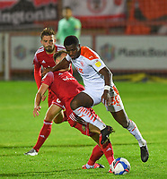Blackpool's Beryly Lubala battles for the ball<br /> <br /> Photographer Dave Howarth/CameraSport<br /> <br /> EFL Trophy Northern Section Group G - Accrington Stanley v Blackpool - Tuesday 6th October 2020 - Crown Ground - Accrington<br />  <br /> World Copyright © 2020 CameraSport. All rights reserved. 43 Linden Ave. Countesthorpe. Leicester. England. LE8 5PG - Tel: +44 (0) 116 277 4147 - admin@camerasport.com - www.camerasport.com