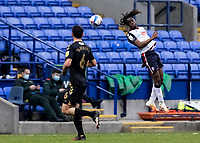 Bolton Wanderers' Peter Kioso heads forward<br /> <br /> Photographer Andrew Kearns/CameraSport<br /> <br /> The EFL Sky Bet League Two - Bolton Wanderers v Oldham Athletic - Saturday 17th October 2020 - University of Bolton Stadium - Bolton<br /> <br /> World Copyright © 2020 CameraSport. All rights reserved. 43 Linden Ave. Countesthorpe. Leicester. England. LE8 5PG - Tel: +44 (0) 116 277 4147 - admin@camerasport.com - www.camerasport.com