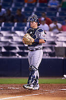 Lakeland Flying Tigers catcher Kade Scivicque (28) during a game against the Tampa Yankees on April 8, 2016 at George M. Steinbrenner Field in Tampa, Florida.  Tampa defeated Lakeland 7-1.  (Mike Janes/Four Seam Images)