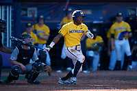 Michigan Wolverines right fielder Christan Bullock (5) at bat in front of catcher Jon Rosoff (7) during a game against Army West Point on February 17, 2018 at Tradition Field in St. Lucie, Florida.  Army defeated Michigan 4-3.  (Mike Janes/Four Seam Images)