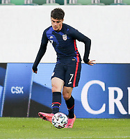 ST. GALLEN, SWITZERLAND - MAY 30: Giovanni Reyna #7 of the United States passes off the ball during a game between Switzerland and USMNT at Kybunpark on May 30, 2021 in St. Gallen, Switzerland.