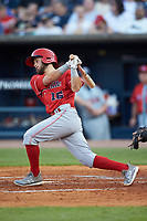 Blake Trahan (16) of the Louisville Bats follows through on his swing against the Toledo Mud Hens at Fifth Third Field on June 16, 2018 in Toledo, Ohio. The Mud Hens defeated the Bats 7-4.  (Brian Westerholt/Four Seam Images)