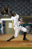 Ben Bengtson (5) of the West Virginia Power follows through on his swing against the Lexington Legends at Appalachian Power Park on June 7, 2018 in Charleston, West Virginia. The Power defeated the Legends 5-1. (Brian Westerholt/Four Seam Images)