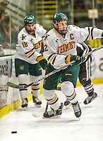 29 December 2014: University of Vermont Catamount Defenseman Michael Paliotta, a Senior from Westport, CT, in first period action against the Providence College Friars, during the deciding game of the annual TD Bank-Sheraton Catamount Cup Tournament at Gutterson Fieldhouse in Burlington, Vermont. The Friars shut out the Catamounts 3-0 to win the 2014 Cup. Mandatory Credit: Ed Wolfstein Photo *** RAW (NEF) Image File Available ***
