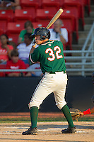 Chris Wade #32 of the Greensboro Grasshoppers at bat against the Hickory Crawdads at  L.P. Frans Stadium July 10, 2010, in Hickory, North Carolina.  Photo by Brian Westerholt / Four Seam Images
