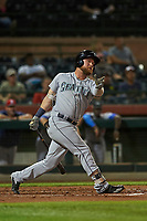 Peoria Javelinas right fielder Eric Filia (4), of the Seattle Mariners organization, follows through on his swing during an Arizona Fall League game against the Scottsdale Scorpions on October 20, 2017 at Scottsdale Stadium in Scottsdale, Arizona. the Javelinas defeated the Scorpions 2-0. (Zachary Lucy/Four Seam Images)
