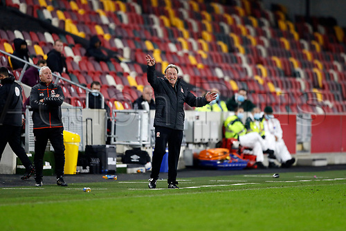 7th November 2020; Brentford Community Stadium, London, England; English Football League Championship Football, Brentford FC versus Middlesbrough; Middlesbrough Manager Neil Warnock shouting instructions from the touchline