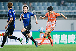 Jeju United Forward Jin Seonguk (R) in action during the AFC Champions League 2017 Group H match Between Jeju United FC (KOR) vs Gamba Osaka (JPN) at the Jeju World Cup Stadium on 09 May 2017 in Jeju, South Korea. Photo by Marcio Rodrigo Machado / Power Sport Images