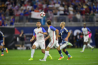 Houston, TX - Tuesday June 21, 2016: Clint Dempsey, Graham Zusi, Javier Mascherano during a Copa America Centenario semifinal match between United States (USA) and Argentina (ARG) at NRG Stadium.