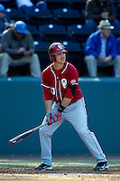 Garrett Carey #10 of the Oklahoma Sooners bats against the UCLA Bruins at Jackie Robinson Stadium on March 9, 2013 in Los Angeles, California. (Larry Goren/Four Seam Images)