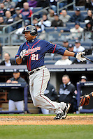 Apr 07, 2011; Bronx, NY, USA; Minnesota Twins outfielder Delmon Young (21) during game against the New York Yankees at Yankee Stadium. Yankees defeated the Twins 4-3. Mandatory Credit: Tomasso DeRosa/ Four Seam Images