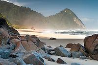 Sunrise on Scott's Beach on Heaphy Track, Kahurangi National Park, West Coast, Buller Region, New Zealand