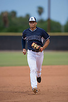 AZL Padres 2 center fielder Sean Guilbe (10) jogs off the field between innings of an Arizona League game against the AZL Padres 1 at Peoria Sports Complex on July 14, 2018 in Peoria, Arizona. The AZL Padres 1 defeated the AZL Padres 2 4-0. (Zachary Lucy/Four Seam Images)