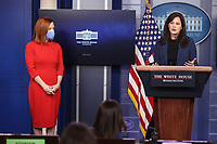 White House deputy national security adviser Anne Neuberger speaks as White House Press Secretary Jen Psaki, left, listens during a press briefing on Wednesday, February 17, 2021, in Washington, DC. <br /> CAP/MPI/RS<br /> ©RS/MPI/Capital Pictures