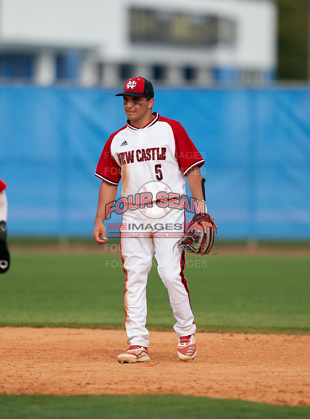 New Castle Hurricanes shortstop Anthony Miller (5) during the IMG National Classic on March 29, 2021 at IMG Academy in Bradenton, Florida.  (Mike Janes/Four Seam Images)