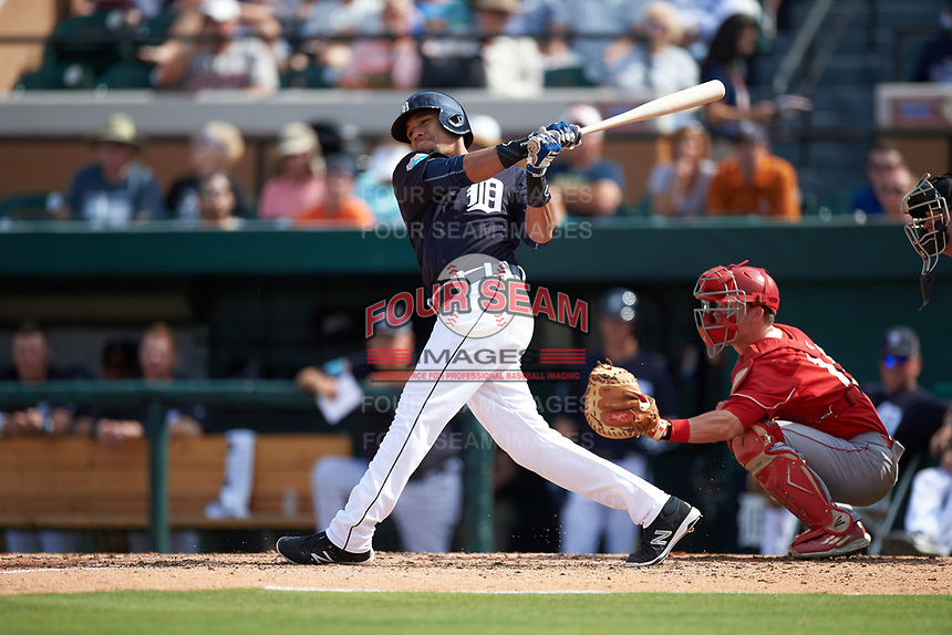 Detroit Tigers shortstop Dixon Machado (49) at bat during an exhibition game against the Florida Southern Moccasins on February 29, 2016 at Joker Marchant Stadium in Lakeland, Florida.  Detroit defeated Florida Southern 7-2.  (Mike Janes/Four Seam Images)