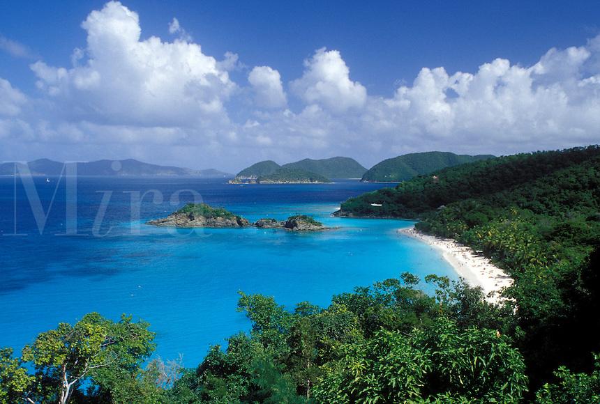St. John, Virgin Islands National Park, Caribbean, U.S. Virgin Islands, USVI, Scenic view of Trunk Bay Beach in Virgin Islands Nat'l Park on Saint John Island.