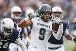 Hawaii wide receiver Devan Stubblefield (9) celebrates while running into the end zone against Nevada during the first half of an NCAA college football game in Reno, Nev., on Saturday, Oct. 24, 2015. (AP Photo/Cathleen Allison)